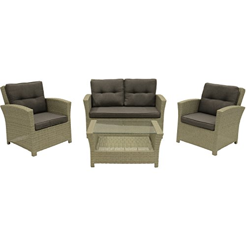 Loungeset Jazz Pebble Gartenmöbel Set 4-teilig 2 Stühle Sofa Tisch mit Glasplatte