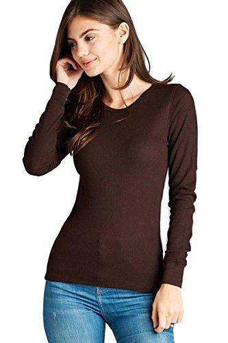 Elegance Damen-Langarm-T-Shirt mit Rundhalsausschnitt(ref:2214) (M, Braun(Brown))