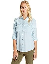 ExOfficio Bugsaway Halo Check L/S Camisa Anti-Insectos UPF 30+, Mujer, Azul (Tropez), XXL