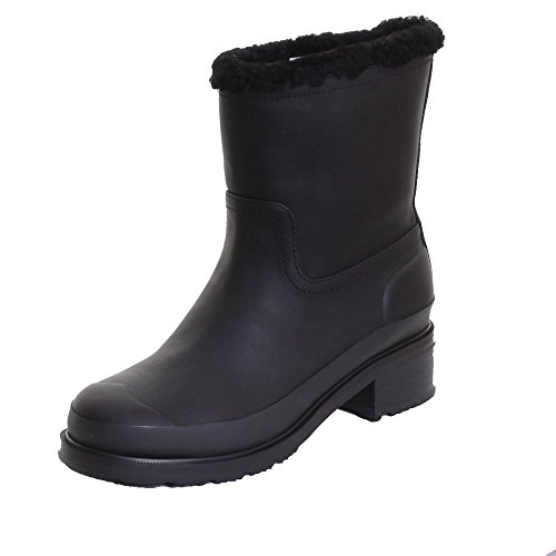 Hunter Original Shearling Bordée Mesdames Bottine En Cuir Black