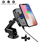 CLEEBOURG Wireless Auto Ladegerät, 2-1 Wireless Charger mit IR Sensor intelligenten Handyhalterung für iPhone X iPhone 8plus iPhone8 Samsung Galaxy Note8 S8 und andere Qi Geräte