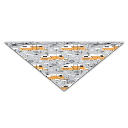 Pet Scarf Halloween Trailers and Flamingos On Grey 11.8x27.5 inches Dog Bandanas ()