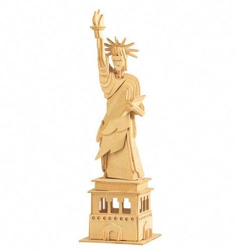 Etna Ilawa Freiheitsstatue - groß ca. 11 x 11 x 38 cm 3D Holzbausatz New York USA Steckpuzzle Bauwerk Gebäude Holzpuzzle P031 -