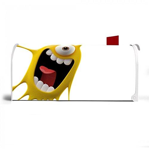 BANJADO US Mailbox | Amerikanischer Briefkasten 51x22x17cm | Letterbox Stahl weiß | mit Motiv Karl Splash, Briefkasten:mit schwarzem Standfuß - 4