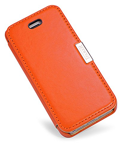 Luxus Tasche für Apple iPhone SE , iPhone 5S und iPhone 5 / Case Außenseite aus Echt-Leder / Innenseite aus Textil / Schutz-Hülle seitlich aufklappbar / ultra-slim Cover / Vintage Look / Farbe: Rot Orange - glatt