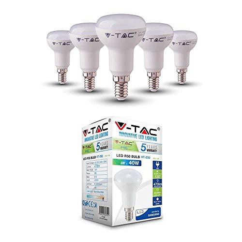 40w Reflektor (V-TAC 6W (40W) Energiesparende R50 Reflektor LED Birne mit Samsung LED E14 (Kleines Edison-Gewinde) 3000 Kelvin Warmweiß 5er PACK)
