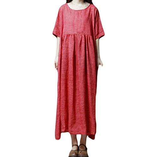 Robes pour Dames De Mode Chic De Couleur Unie Basic Col Rond Robes D Été Élégantes Loisirs Pure Color Folk Custom Manches Courtes Loose Long Dress Ropa (Color : Rot, Size : 2XL)