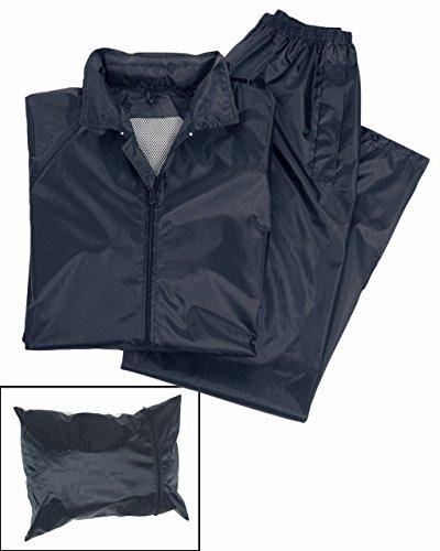 Mil-Tec Waterproof Rainsuit Set Dark Blue – Small – Hooded Jacket and Pants