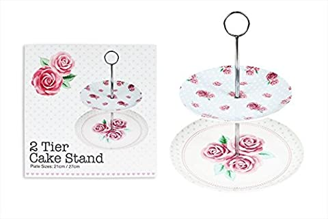 2 Tier Cake Stand Afternoon Tea Rose Design Wedding Plates