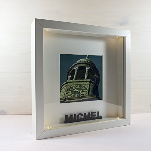 LED-Bilderrahmen *PERSONALISIERT* 25x25 cm // für Innenbereich, als Nachtlicht, Geschenkidee, beleuchtet, Hamburg