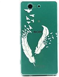 Cozy Hut Coque en Silicone pour Sony Xperia Z3 Mini /Compact - Slim Case Transparent Coque Sony Xperia Z3 Mini /Compact TPU Silicone Case Cover Skin Protecteur Etui Housse Gel Étui Pour Sony Xperia Z3 Mini /Compact Coque - plumes blanches