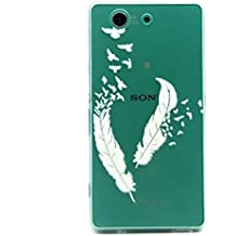 Voguecase® Para Sony Xperia Z3 Compact ultra-slim fit TPU Funda de Silicona de Gel Carcasa Tapa Case Cover (pluma blanca 01) + Gratis aguja de la pantalla stylus universales