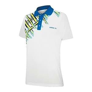 Adidas Youth Plaid Printed Polo Shirt (White/Blue, 16)