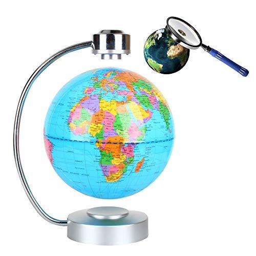 8 Inch Globo Flotante de Levitación Magnética con LED, Globo de Antigravedad y Mapa de Mundial Rotativo para Decoración de Hogar y Regalo de Creativo y Educacion de Geografia