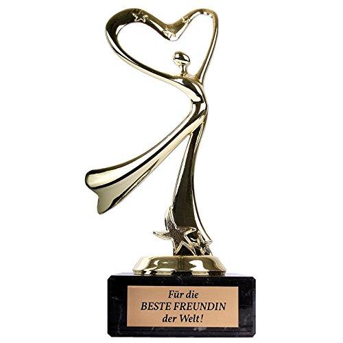 Multionline Romantische Herz-Statue für die Beste Freundin der Welt! - Ehrenpreis mit Gravur als persönliches Geschenk