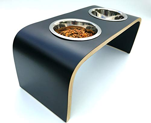 Raised Dog Bowls. Raised Dog Feeding Stand in Black. Double Dog Bowls. Non-Slip Easy to Clean Design