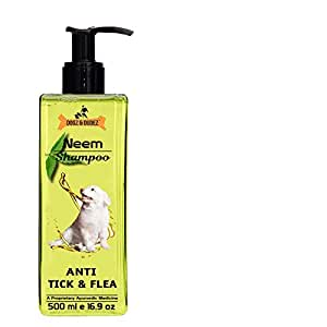 Dogz & Dudez Dog Shampoo Anti Tick & Flea | Organic Natural Neem & Lemongrass ● Anti Itching, Insect Repellent ● 500 ml - 4 Month Pack