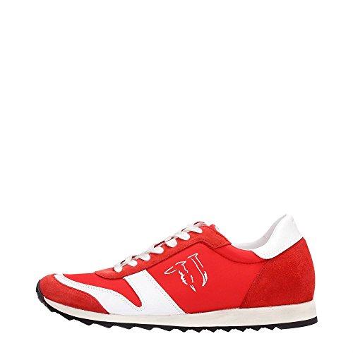 Trussardi Jeans 77S066 Sneakers Uomo Tessuto Rosso e Bianco Rosso e Bianco 45