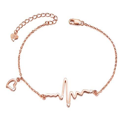 Imagen de shegrace pulsera de corazon mujer de 925 plata de esterlina con el diseno nuevo, oro rosa, 180mm