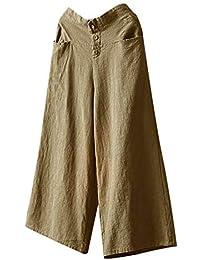 Comfy Stretch Pantalon Women Palazzo High Waist Wide Leg Culottes Cotton Linen Trousers Loose Pants