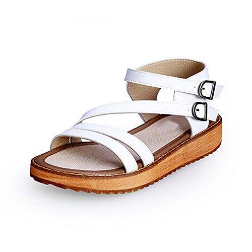 OCHENTA Damen Sandalen Peep-Toe Rund Flach Plattformhohe-1,5cm Absatzhohe-2,8cm Durchzugsriemen Romanisch Weiß