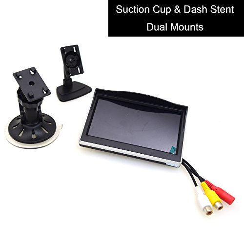 """Cocar 5"""" Auto Saugnapf Halterung Monitor LCD TFT Bildschirm Windschutzscheibe Halterung für Rückfahrkamera/Front-Kamera/Media Player/2 Cinch RCA"""