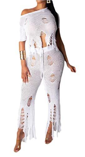 One-shoulder Knit Top (dahuo Damen Zweiteilige Outfits Casual One Shoulder Cutout Top Loch Knit Hosen Set Gr. M, weiß)