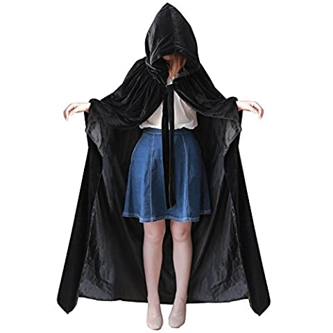 Dressvip Halloween Party Cape Longue avec Capuche en Velours Noir avec Entournure Cosplay Costume (M, Noir)