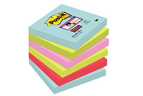 Post-it Super Sticky Notes Miami Collection 6546SMI - Selbstklebende Haftnotizzettel in 76 x 76 mm - 6 Notizblöcke quadratisch à 90 Blatt in 4 Farben