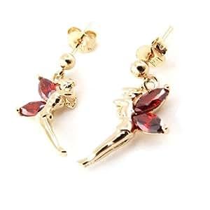 Earrings plated gold 'Fée Clochette' garnet.