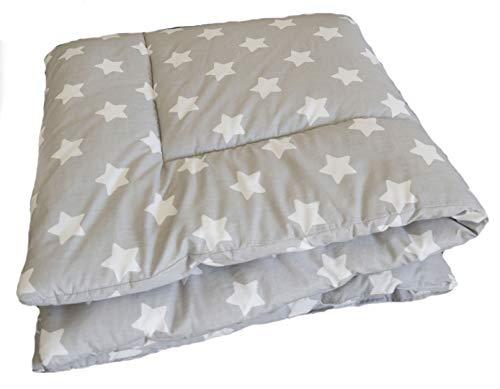 Baby Krabbeldecke Sterne Grau - Kuscheldecke, Spieldecke, Laufgittereinlage 100x100 / 120x120 groß gepolstert- SWADDYL ® (120x120)
