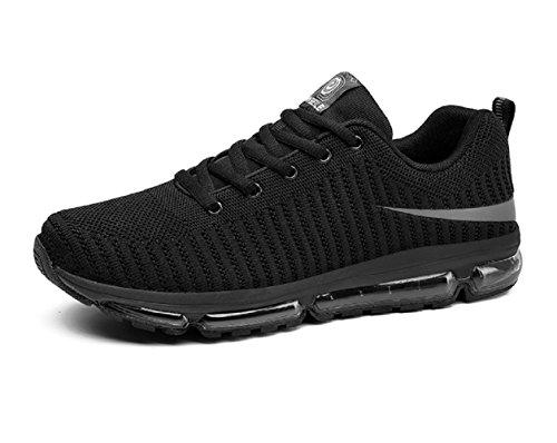 Santimon Chaussures Securité Hommes Anti Choc Ultra Léger Confortable Flyknit Résistant à LUsure en Plein Air Chaussures de Sport Noir