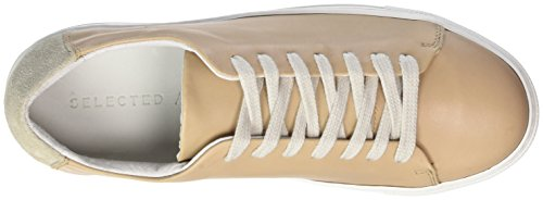 SELECTED FEMME Sfdonna New Leather Sneaker, Scarpe da Ginnastica Basse Donna Beige (Nude)