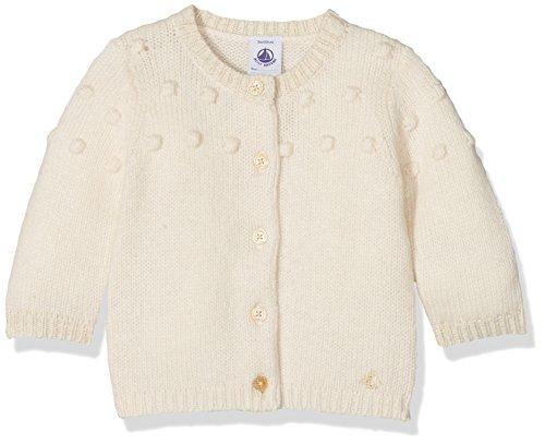 Petit Bateau Baby-Mädchen Strickjacke Cardigan, Elfenbein (Coquille/Lurex Dore 73), 86 (Herstellergröße: 18m/81cm) (Pullover Bateau-ausschnitt)