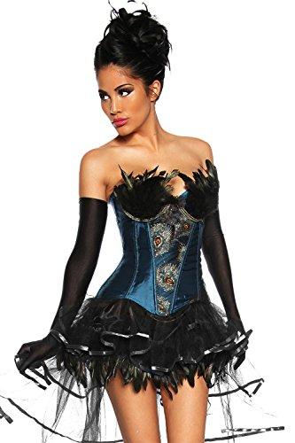 Burlesque sexy Corsage mit Federn bestzt inkl. langen schwarzen Satin-Handschuhen (XXL, blau)