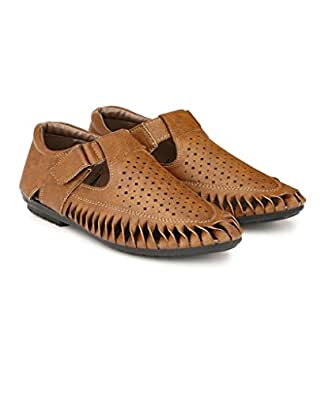 SHOE DAY Men's Artificial Leather Fisherman Sandals Brown