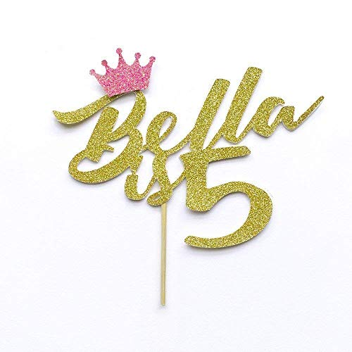 Custom Cake Topper. Birthday Name is Any Age. Princess.Party Decoration with Crown.
