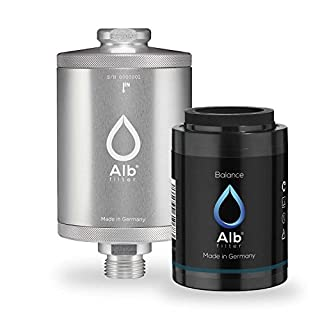 Alb Filter® Balance Duschfilter für gesunde Haut und Haare anstatt Hautirritationen und Juckreiz. Made in Germany. Silber