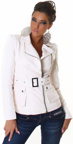 Voyelles Damen Jacke in Leder-Optik mit Gürtel, creme Größe 32 34