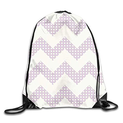 uykjuykj Tunnelzug Rucksäcke, Drawstring Backpack Bag Light Purple Chevron Rucksack for Gym Travel Color 03 Lightweight Unique 17x14 IN -