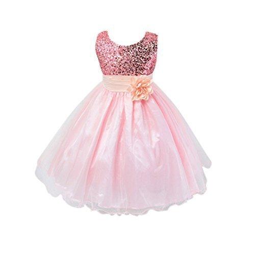 Live it style it - abito da principessa senza maniche, con paillettes e fiore, formale, per festa di nozze, damigella d'onore baby pink 2-3 anni
