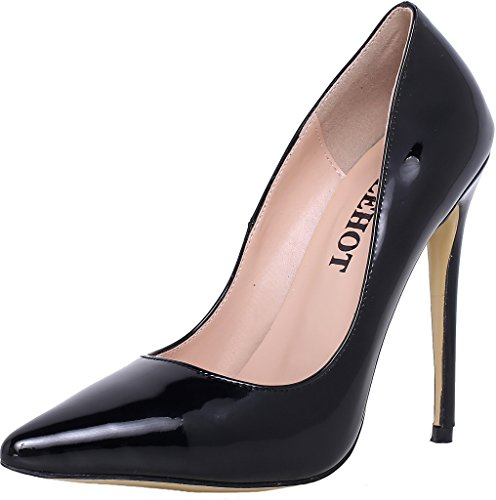 ELEHOT Donna Virgo tacco a spillo 12CM Leather Scarpe col tacco, nero, 42.5