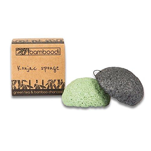 Aktivkohle Konjac (Konjac Schwamm von bamboodi - Grüner Tee & Bambuskohle ♻ 2 Stück ♻ Für ein strahlendes Hautbild, sanft und natürlich. Vollständig biologisch abbaubar (Green Tea & Bamboo Charcoal))