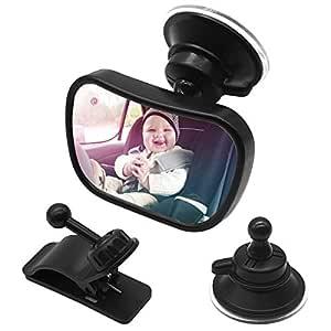 Netspower Rücksitzspiegel Für Babys Im Auto Bruchsicherer Autositz Rückspiegel 360 Einstellbar Sicher Babyspiegel Mit Saugnapf Und Rahmenclip Baby Auto Spiegel Für Kinder Babysitz Babyschalen Baby