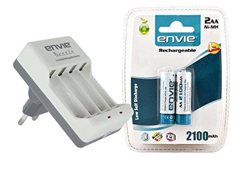 Envie ECR 20 Beetle Charger and 2 Nos Of AA 2100 Ni mH Rechargeable batteries