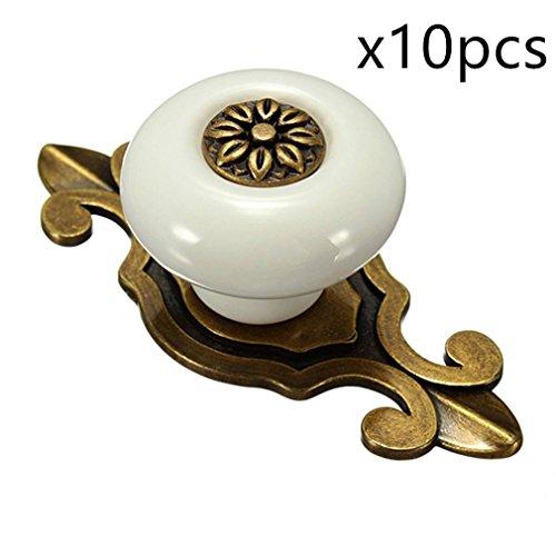 10PCS Europäischen Stil Keramik Knöpfe mit Zink-Legierung, Möbelknopf Möbelgriff Schrankgriffe Schublade Möbel Tür zieht Griffe von Creatwls (Bronze-Weiß) (Mädchen Knöpfe Und Zieht)