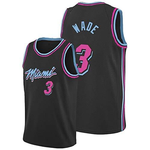 Dwyane Wade # 3 Herren-Basketballtrikot - NBA Miami Heats, New Fabric Embroidered Swingman Jersey Sleeveless Shirt Urban Version Black-M -