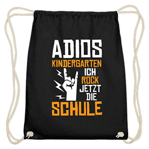 Values Tees Adios Kindergarten ich rock jetzt die Schule I Einschulung - Baumwoll Gymsac -37cm-46cm-Schwarz