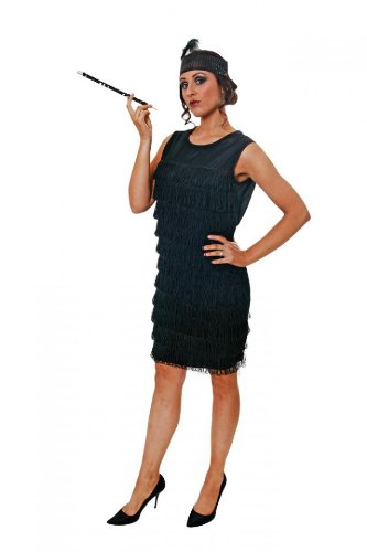 Costume Fancy Dress Flapper Girl Anni 30 (Nero)