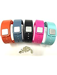 Set 1 Black 1 Slate 1 Pink 1 Teal 1 Tangerine Original OEM Replacement Bands & Metal Clasps For Samsung Galaxy Gear Fit Bracelet Smart Wristband Wireless Activity Bracelet Sport Bracelet Sport Arm Band Armband + Nice Crystals Feather Brooch